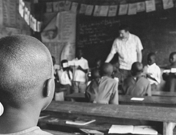 African Boy sitting in class